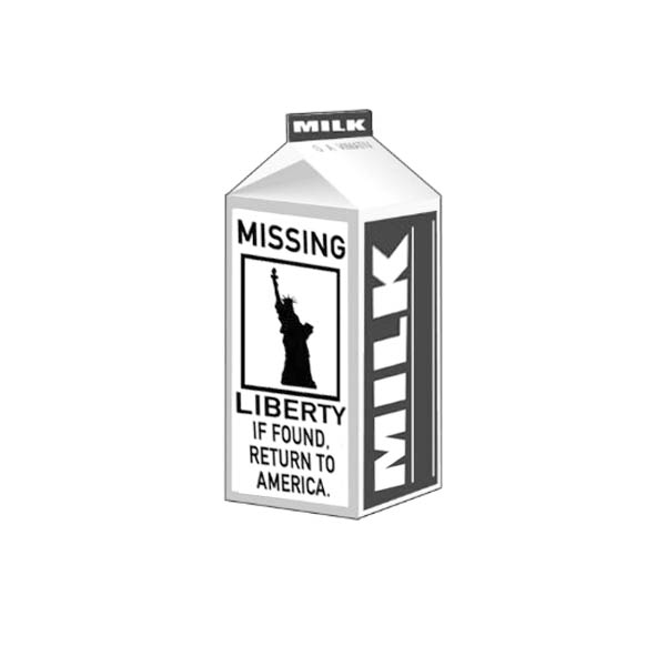 Missing Liberty Statue on Milk Carton Coloring Page