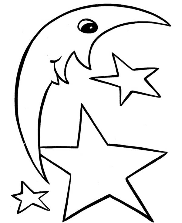 Moon and star shapes coloring page netart for Moon and stars coloring pages