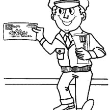 Mr Postman is Smiling in Community Helpers Coloring Page