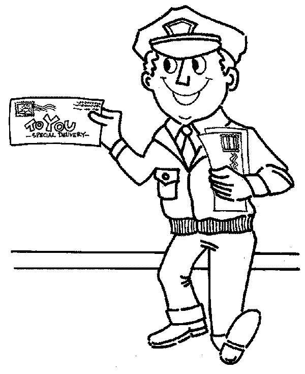 Mr Postman is Smiling in Community Helpers Coloring Page NetArt