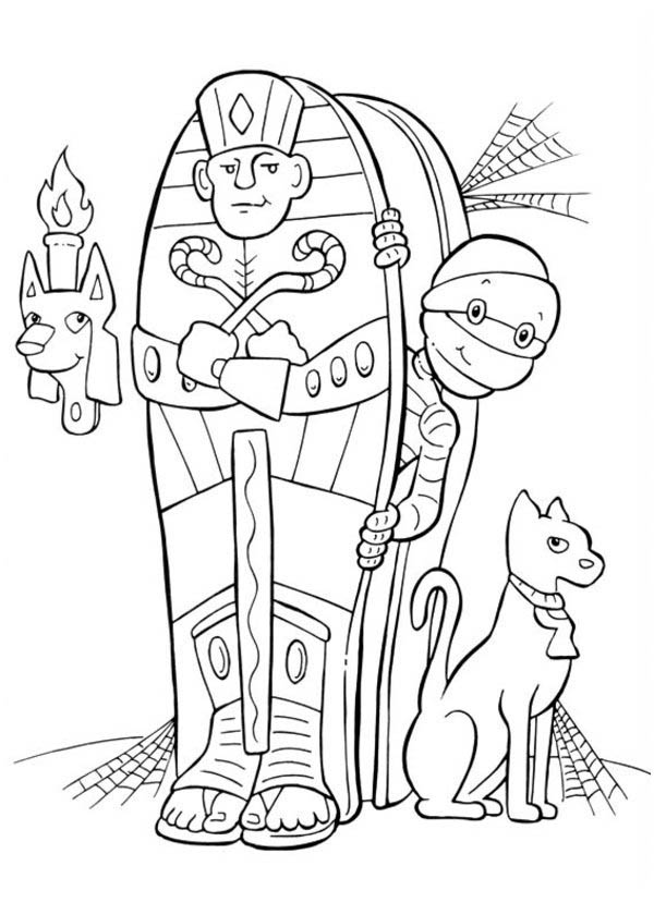 Mummy And Cat In Funschool Halloween Coloring Page  Netart
