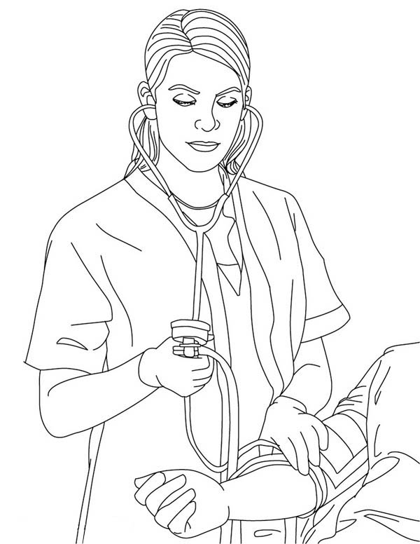 Line Drawing Nurse : Nurse taking blood pressure coloring page sketch