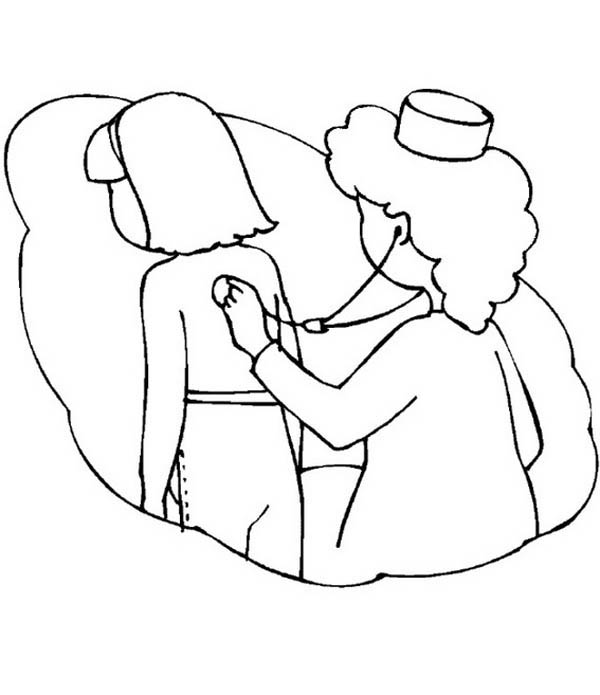 Nurse Checking with Stethoscope Coloring Page