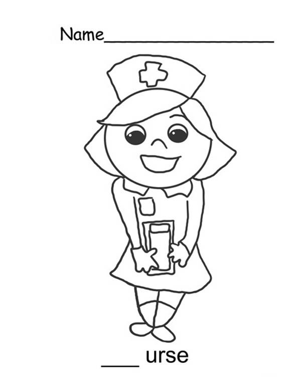 Nurse Coloring Pages Nurse Sweet Smile Coloring Page  Netart