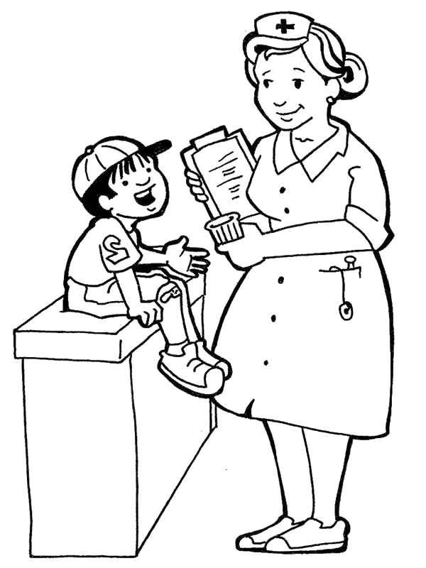 Nurse Talking with Sick Kid in Community Helpers Coloring Page ...