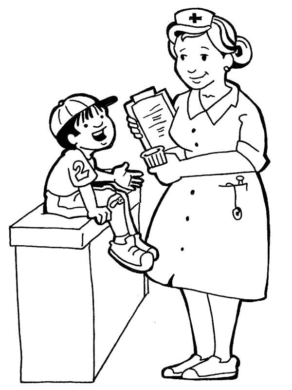 Nurse is taking care of a child coloring page netart for Nursing coloring pages