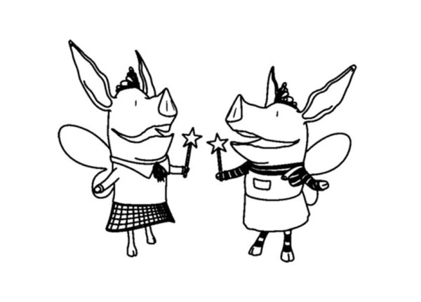 Olivia the Pig Playing Fairy with Magic Wand Coloring Page  NetArt