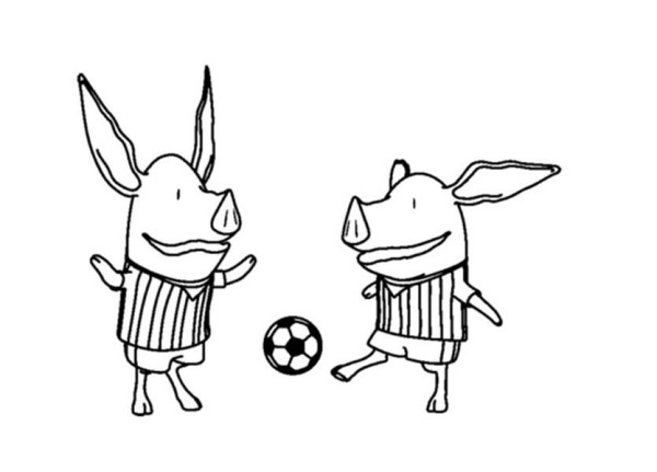Olivia the Pig Playing Football Coloring Page