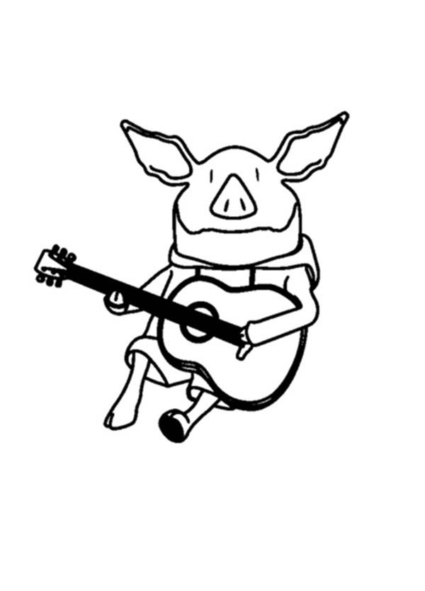 Olivia the Pig Playing Guitar Coloring Page - NetArt
