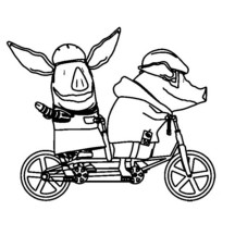 Olivia the Pig Riding a Bicycle Coloring Page