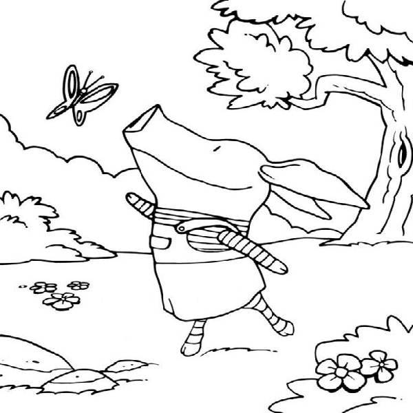 Olivia the Pig Talking to a Butterfly Coloring Page  NetArt