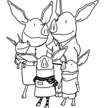 Olivia the Pig and Family Coloring Page