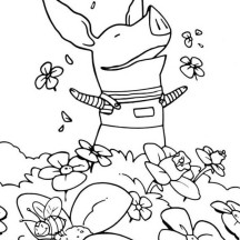 Olivia the Pig at the Flower Garden Coloring Page