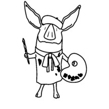 Olivia the Pig the Famous Painter Coloring Page