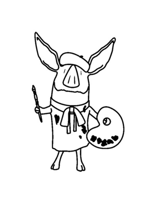 Olivia the Pig the Famous Painter Coloring Page  NetArt