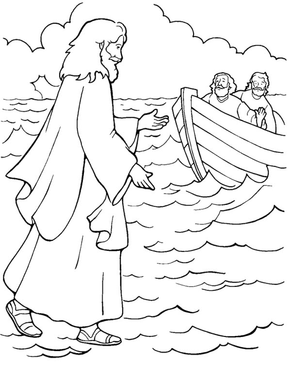 One of Miracles of Jesus is Walking on Water Coloring Page - NetArt