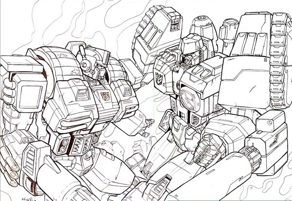 Optimus Prime vs Megatron Coloring Page NetArt