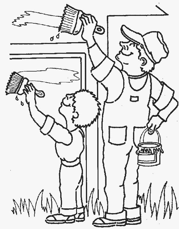 Painter Painting Wall in Community Helpers Coloring Page