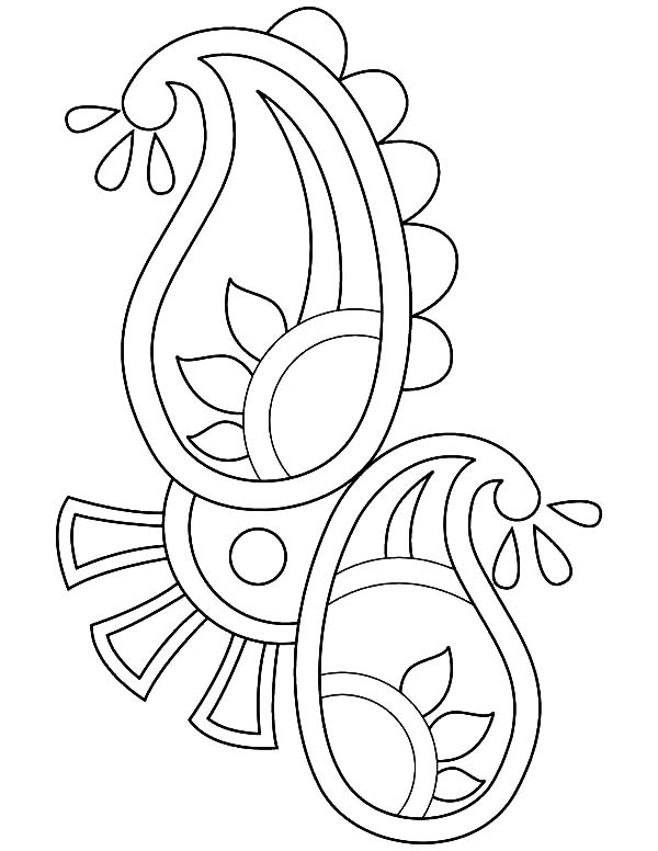 Paisley design rangoli coloring page netart for Rangoli coloring pages