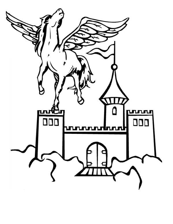Pegasus in Front of Sky Castle Coloring Page