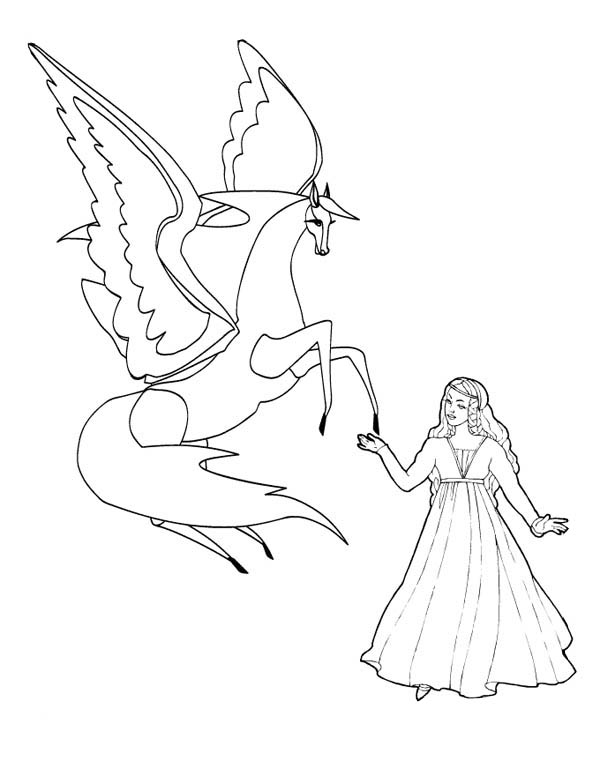 Pegasus with Princess Coloring Page