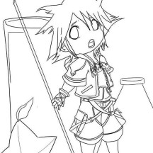 Picture of Chibi Sora Coloring Page