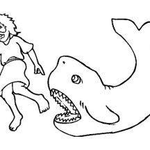 Picture of Jonah and a Great Whale in Jonah and the Whale Coloring Page
