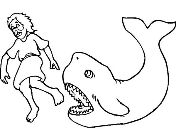 Picture of Jonah and a Great Whale in Jonah and the Whale Coloring