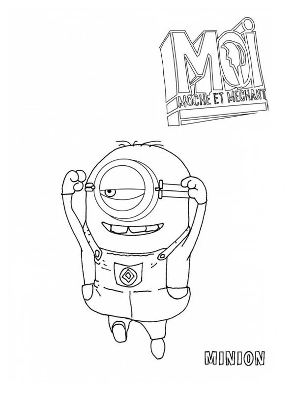Picture of Jumping Minion in Despicable Me Coloring Page - NetArt