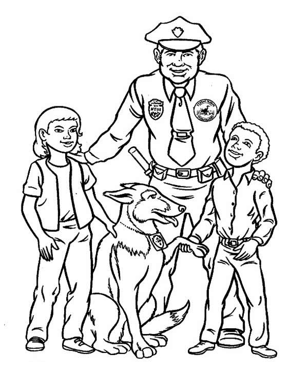 Police Officer Make Friend with Kids Coloring Page - NetArt