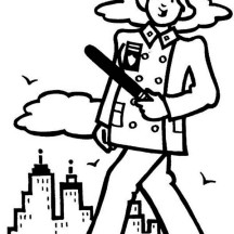 Police Officer Patrol on Down Town Coloring Page