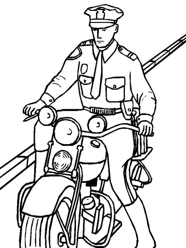 Police Officer Riding a Motorcycle Coloring Page - NetArt