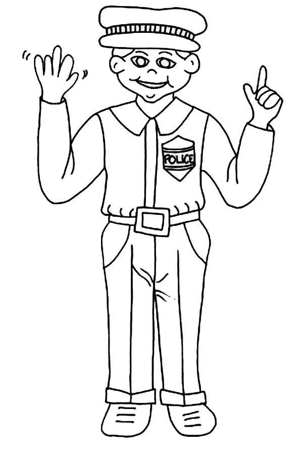 Traffic policeman free coloring pages for Police officer coloring page