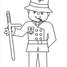 Police Officer with Club Coloring Page
