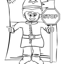 Police Officer with Stop Sign Coloring Page