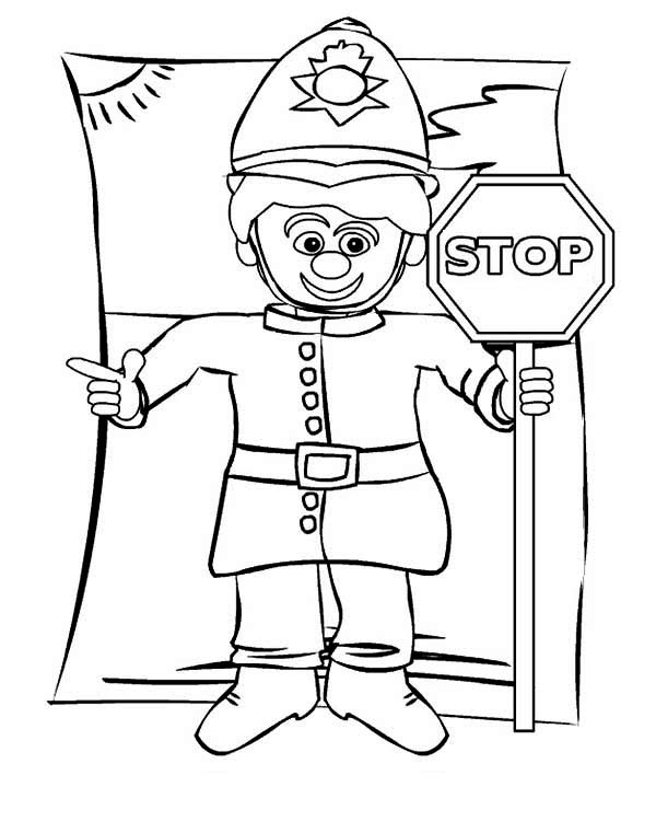 Police Officer with Stop Sign Coloring Page - NetArt
