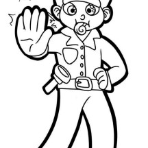 Police Officer with Whistle Coloring Page