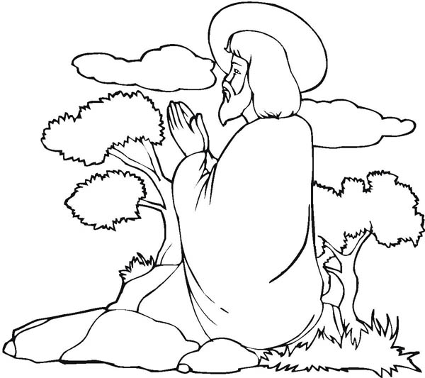 Jesus Praying Mountain Coloring Page Pages