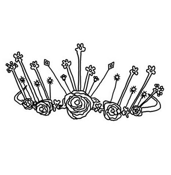 Princess Crown Decorated with Platinium Rose Coloring Page