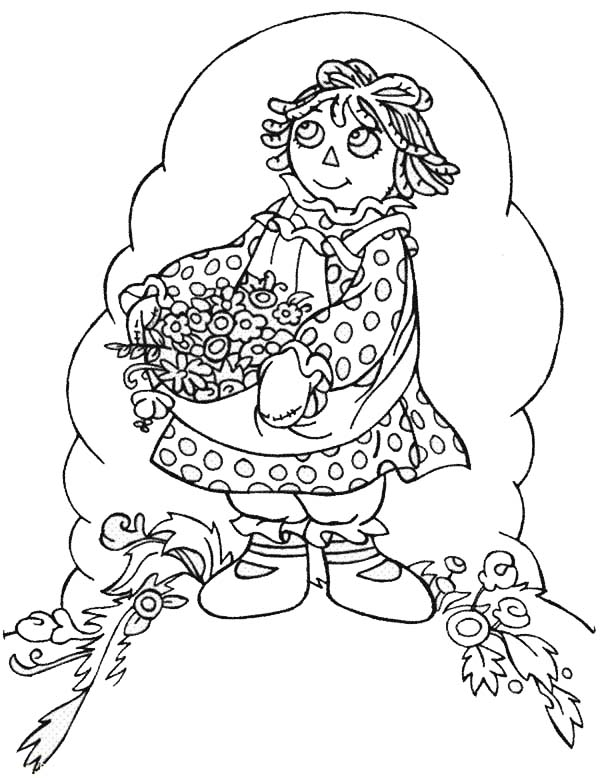 Raggedy ann beautiful flower in raggedy ann and andy for Raggedy ann and andy coloring pages