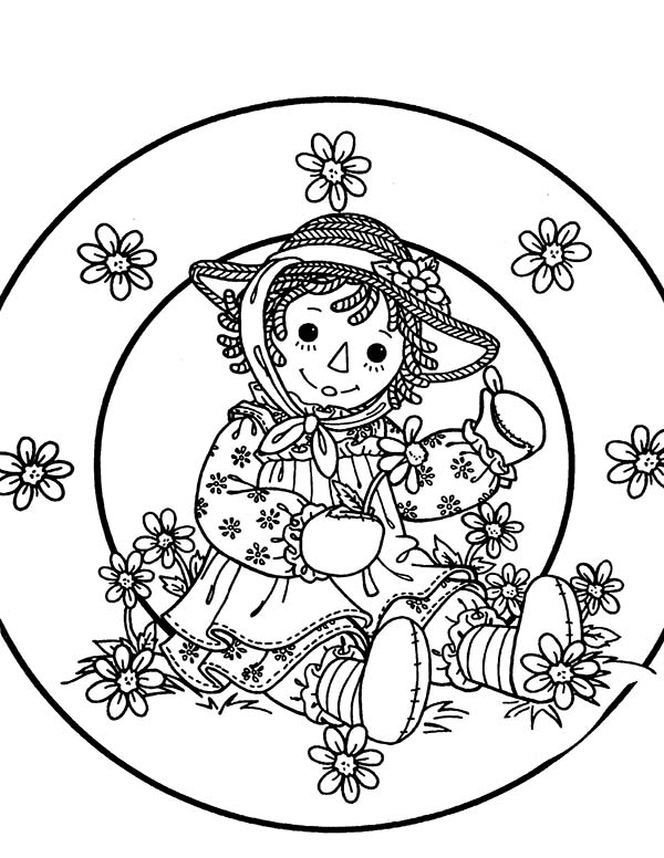 Raggedy Ann Collect Flower in Raggedy Ann and Andy Coloring Page