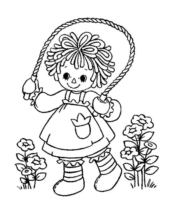 Raggedy Ann Playing Rope in Raggedy Ann and Andy Coloring Page