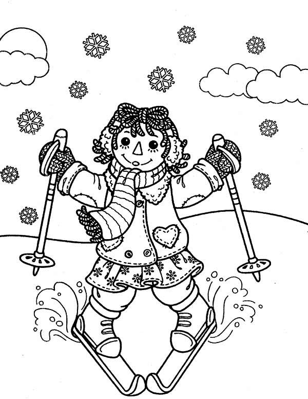 Raggedy ann skiing in raggedy ann and andy coloring page for Raggedy ann and andy coloring pages