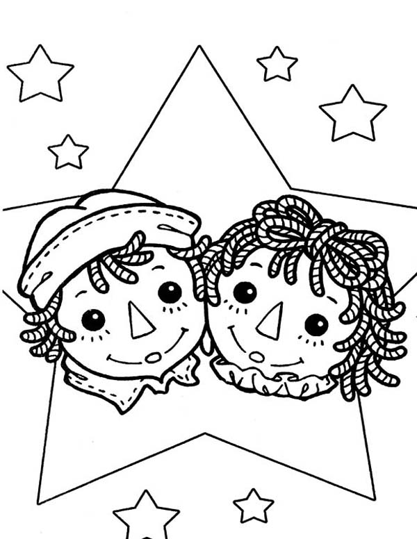 Raggedy Ann and Andy Coloring Page NetArt