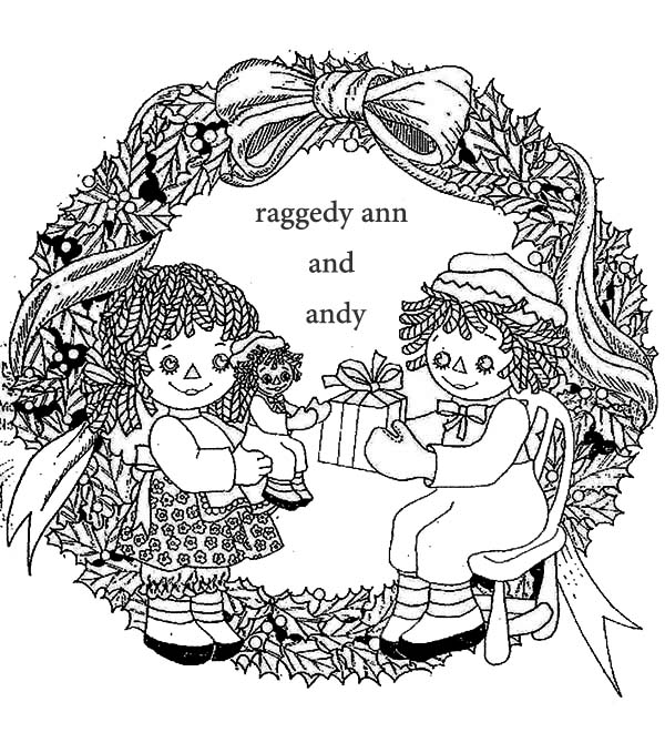 Raggedy ann and andy exchanging present coloring page netart for Raggedy ann and andy coloring pages