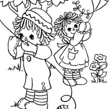 Raggedy Ann and Andy Playing Kite Coloring Page