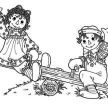 Raggedy Ann and Andy Playing Seesaw Coloring Page