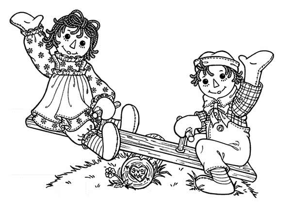 Raggedy Ann and Andy Playing Seesaw Coloring Page NetArt