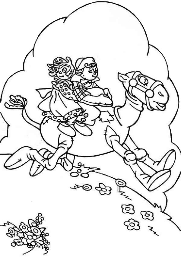 Raggedy Ann and Andy Riding Hobby Horse Coloring Page NetArt