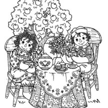 Raggedy Ann and Andy Tea Party Coloring Page